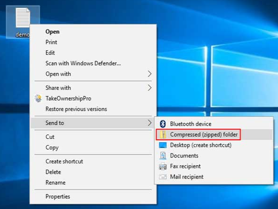 how to create a zip file in windows 10
