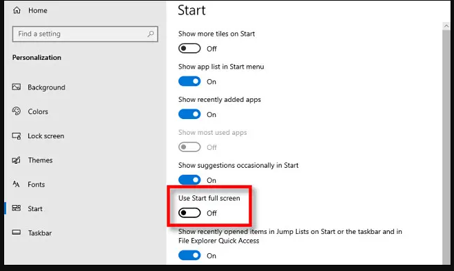 How to use full screen on windows 10