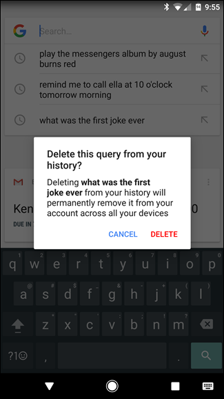 how to delete google searches on android phone