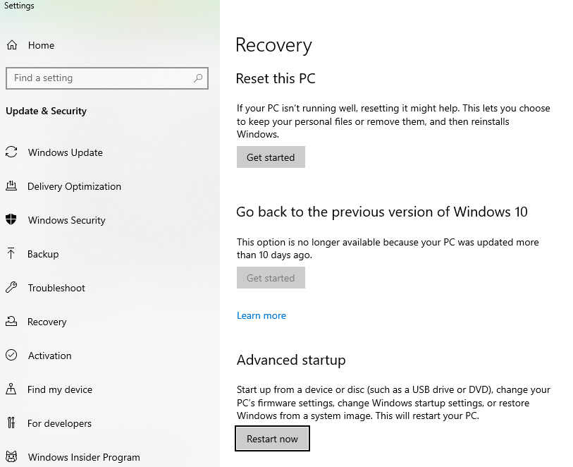 how to restore computer in windows 10